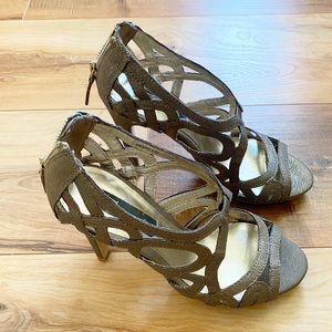 Mango gold metallic rustic stiletto cutout sandal
